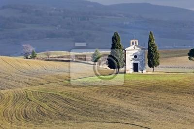 Iglesia sola, Val d'Orcia (Italia).