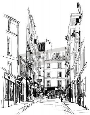 Póster illustration of a street near Montmartre in Paris
