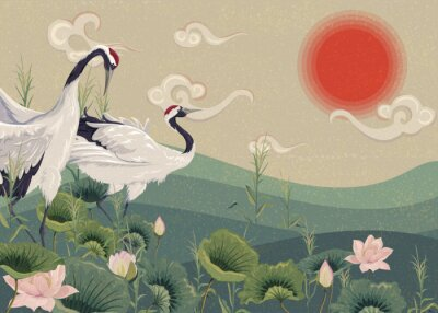 Póster Illustration with Japanese cranes in the lake at sunset