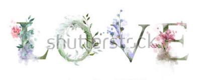 Póster Ilustración acuarela con flores silvestres, hierbas - amor. Fresco estampado en camiseta. Vendimia Letras