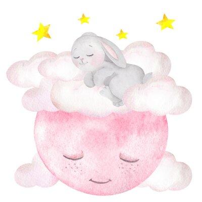 Póster Ilustración acuarela con lindo conejo, luna, estrellas y nubes