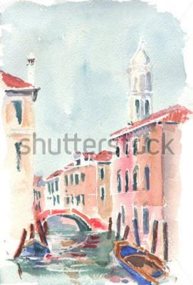Póster Ilustración acuarela de un canal veneciano
