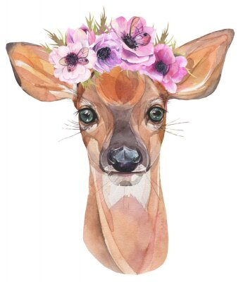Póster Ilustración acuarela Lindo cervatillo con flores. Cría de ciervo.