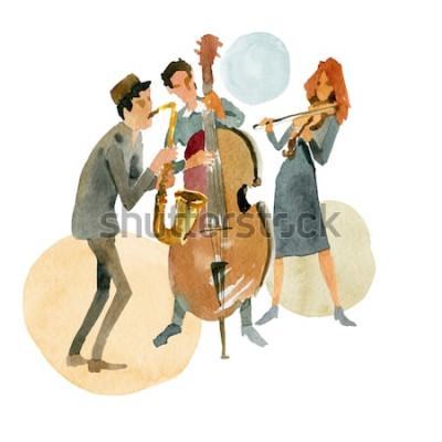 Póster Ilustración acuarela Trío de jazz instrumental compuesto por contrabajo, violín y saxofón