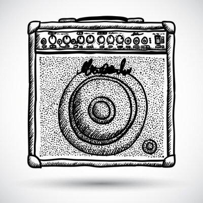 Póster Ilustración Amplificador combinado de guitarra Vector