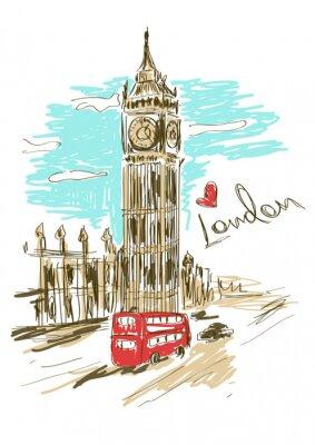 Póster Ilustración Boceto de torre del Big Ben
