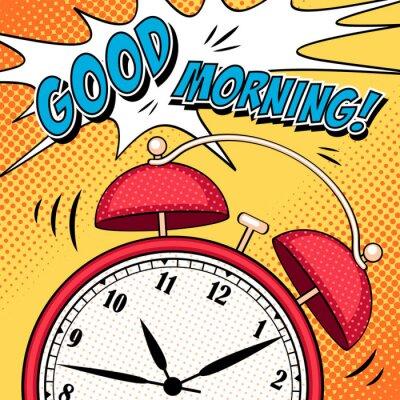 Póster Ilustración cómica con despertador en estilo pop art