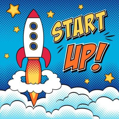Póster Ilustración cómica de inicio concepto con un cohete en el arte pop