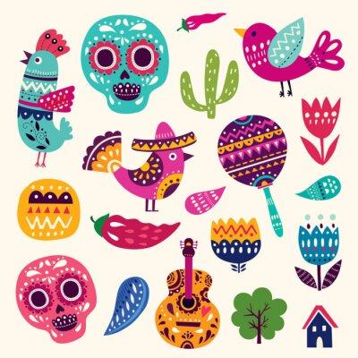 Póster Ilustración con símbolos de México