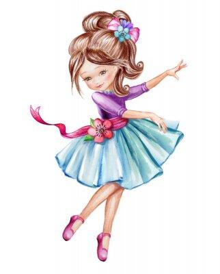Póster Ilustración de acuarela, pequeña bailarina linda, niña en vestido azul, niño bailando, muñeca, clip art aisladas sobre fondo blanco