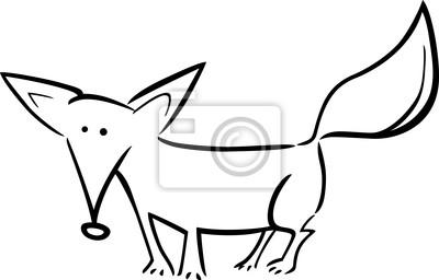 Póster Ilustración De Dibujos Animados De Fox Para Colorear