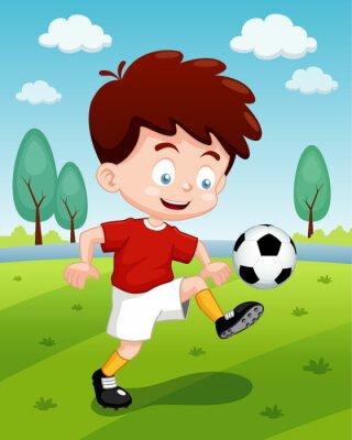 Ilustracion De Dibujos Animados Ninos Jugando Al Futbol Carteles