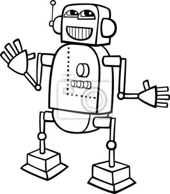 Póster Ilustración De Dibujos Animados Robot Para Colorear