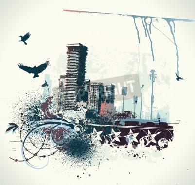 Póster Ilustración de fondo urbano con el grunge teñida de elementos de diseño