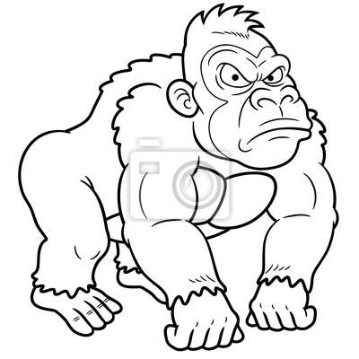 Póster ilustración de gorila de dibujos animados - Libro para colorear