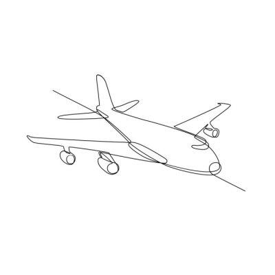 Ilustración de línea continua de avión de pasajeros de avión jumbo jet o avión volando en pleno vuelo en el aire hecho en estilo monoline en blanco y negro.