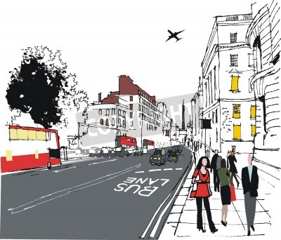 Póster ilustración de pasajeros en calle de la ciudad de Londres
