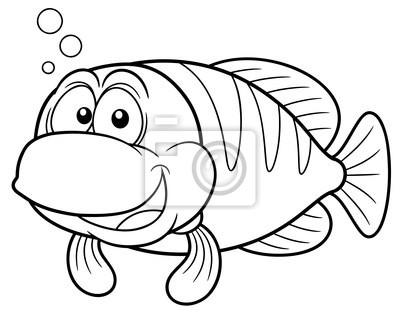 Ilustración de peces de dibujos animados - libro para colorear ...