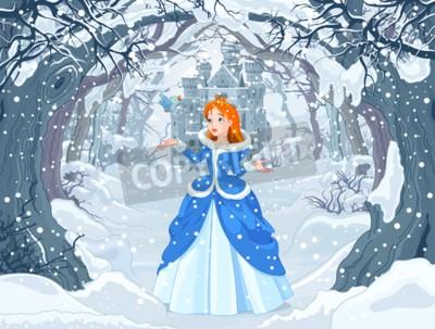 Póster Ilustración de princesa con pájaro cerca de Magic Winter Castle