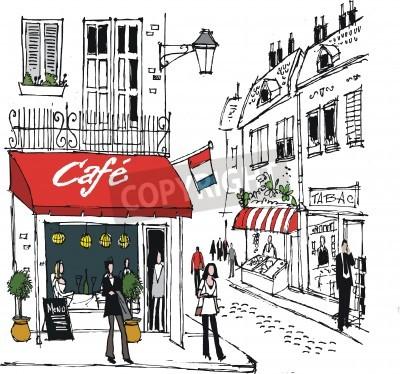 Póster ilustración de pueblo francés escena café de la calle