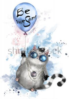 Póster Ilustración de un lindo gato en estilo rockero, con gafas redondas y joyas. Gato volando en un globo con letras impresionantes. Acuarela salpicadura de pintura. Camiseta, estampado impresionante.