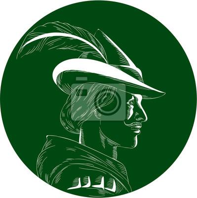 Ilustración de un Robin Hood que desgasta el sombrero medieval con un borde y una pluma acentuados vistos del lado fijado dentro del círculo hecho en estilo retro del grabar en madera.