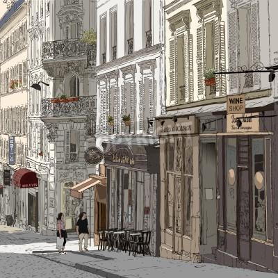 Póster ilustración de una calle de Montmartre de París