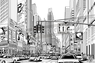 Póster Ilustración de una calle en la ciudad de Nueva York