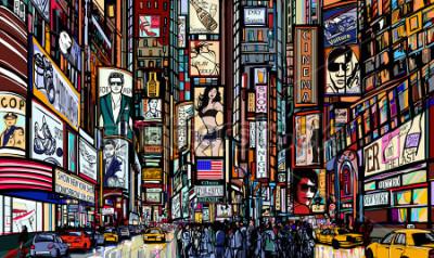 Póster Ilustración de una calle en la ciudad de Nueva York - Times Square - ilustración vectorial