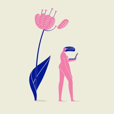 Póster Ilustración de una chica desnuda con cuaderno bajo flor, persona, naturaleza, ecología y tecnología, esquema de colores rosa y azul