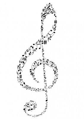 Póster Ilustración de una clave de sol con notas musicales