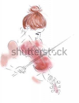 Póster Ilustración de una niña tocando un violín