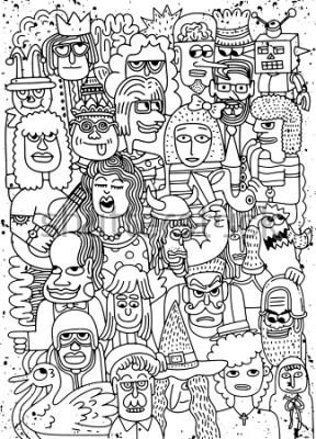 Póster Ilustración de vector de dibujos animados caras multitud doodle patrón dibujado a mano, estilo doodle
