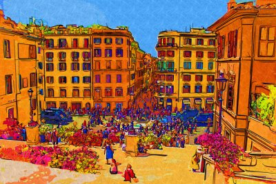 Póster Ilustración del arte de Roma Italia