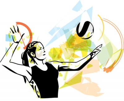 Póster Ilustración del jugador de voleibol de juego