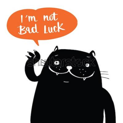 Póster Ilustración del vector del estilo del doodle de un gato negro y no soy mala suerte en el discurso del globo, diseño de dibujos animados.