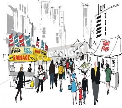 Póster Ilustración del vector del mercado de calle, Nueva York.