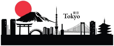 Póster Ilustración del vector del paisaje urbano de Tokio, Japón