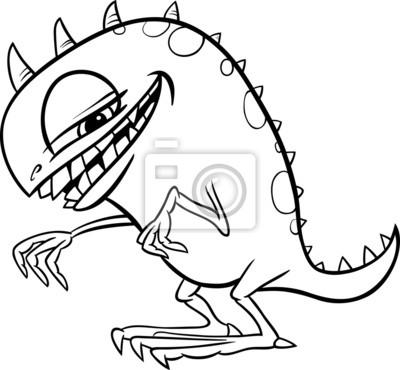 Ilustración monstruo de dibujos animados para colorear carteles para ...
