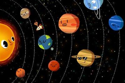 Póster Ilustración para niños: Los planetas felices en el sistema solar. Ilustraciones fantásticas realistas del estilo de la historieta / historia / escena / papel pintado / fondo / diseño de tarjeta.