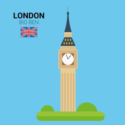 Póster Ilustración vectorial de Big Ben (Londres, Reino Unido). Monumentos y monumentos Colección. Archivo EPS 10 compatible y editable.