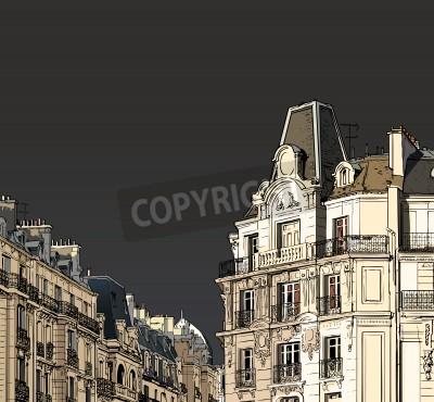 Póster Ilustración vectorial de fachadas en París, en un tiempo tormentoso