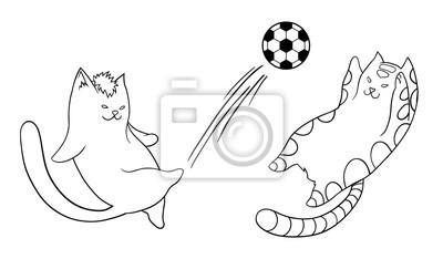Póster Ilustración Vectorial De Gatos De Dibujos Animados Jugando Al