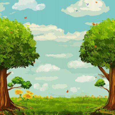 Póster Ilustración vectorial de la hermosa escena del bosque con árboles y cielo