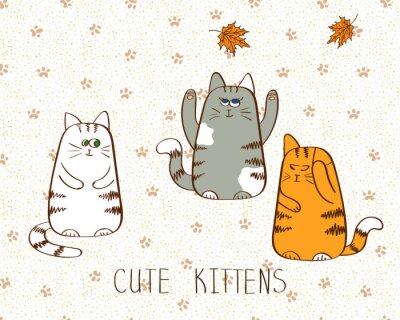 Póster Ilustración vectorial de tres gatitos cute doodle.