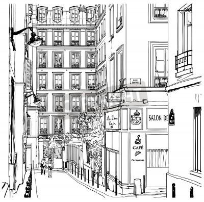 Póster Ilustración vectorial de una calle cerca de Montmartre en París