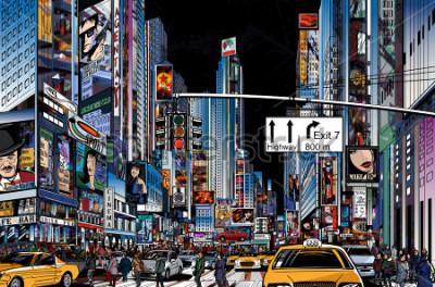 Póster Ilustración vectorial de una calle en la ciudad de Nueva York en la noche