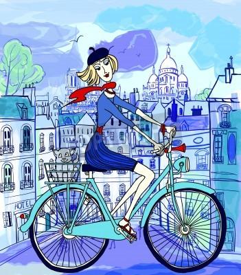 Póster ilustración vectorial de una mujer joven en una bicicleta en París