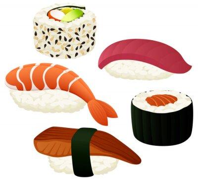 Póster Ilustración vectorial de una variedad de sushi.