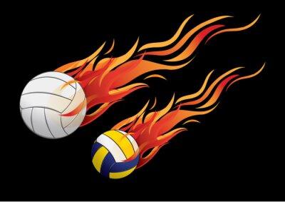 Póster ilustración vectorial deporte fuego voleibol
